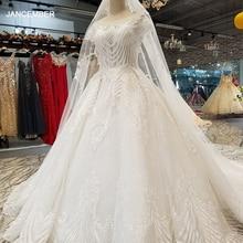 LS32009 エレガントなアイボリーのウェディングドレス o ネック半袖レースガウンの花嫁のウェディングベールで中国卸売