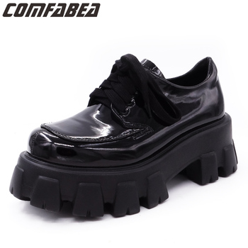 COMFABEA Women's shoes 2020 Spring Shoes  Woman Platform Shoes Womens Thick Sole Creepers Punk Shoe