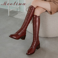 Meotina Real Leather High Heel Long Boots Women Shoes Round Toe Thick Heels Knee High Boots Zip Lace Up Fashion Lady Boots 41 42