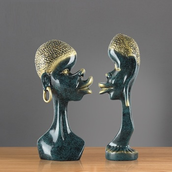 Indian Characters Art Sculpture African Couple Figure Statue Creative Resin Craft Desktop Office Decorations For Home R3412