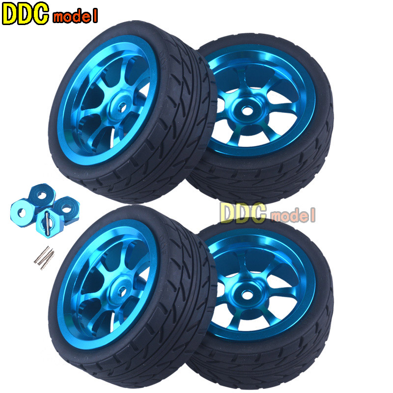 4Pcs High Quality RC Car Wheel Rim & Tires with 12mm Adapter for 1/18 WLtoys A959-B A949 A959 A969 A979 K929