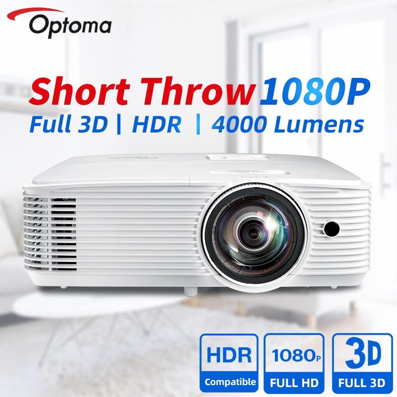 Короткий проектор Optoma EH412ST Blu-Ray 3D, проектор для офиса, домашнего кинотеатра, 1080P FULL HD мультимедийный проектор, HDR кинотеатр