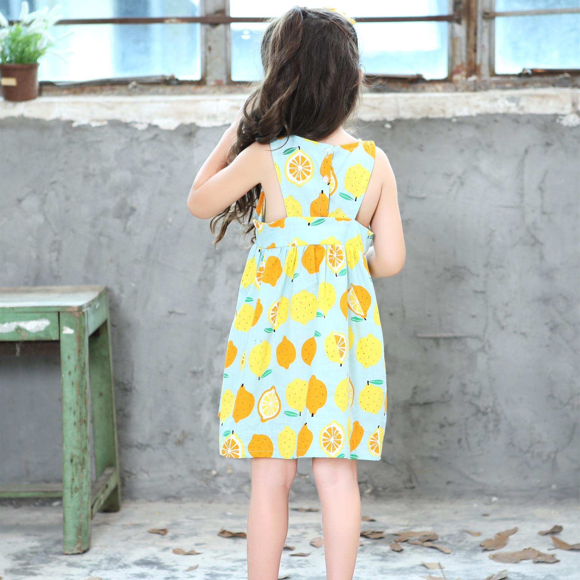 Summer Girls Dress Sleeveless Vest Cute Yellow Lemon Dress For Girls Baby Child Clothing