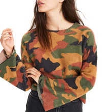 Women Camo T-shirts Long Sleeves Round Neck Loose Pullover Casual Tops for Spring JS24(China)