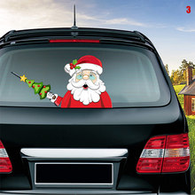 Car Rear Wiper Decal Sticker Windshield Christmas Santa Claus Waving Decor Ornament Styling