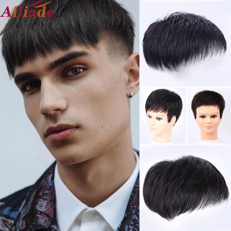 Парик мужской машинной работы, Натуральные Прямые кусочки волос, заменяет t-системы, безклеевой Топ