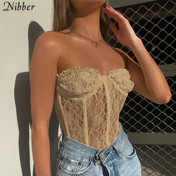 Nibber sexy lace off shoulder top women Elegant party tube top black tank tops club night wear crop tops High quality top female