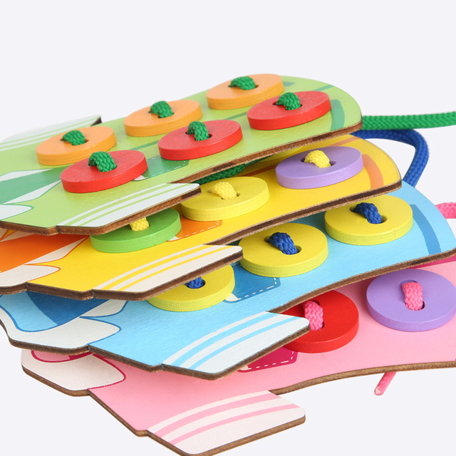 Early Education Wooden Clothes Wear Thread Sewing Button Board Montessori Toys