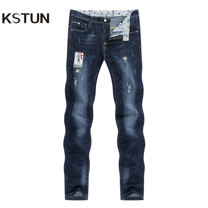 KSTUN Men Jeans Stretch Dark Blue Slim Fit Ripped Biker Jeans Man Casual Patchwork Hip Hop Mens Pants Denim Clothes Dropshipping