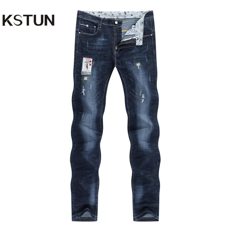 KSTUN Men Jeans Stretch Dark Blue Slim Fit Ripped Biker Jeans Man Casual Patchwork Hip Hop Mens Pants Denim Clothes Dropshipping