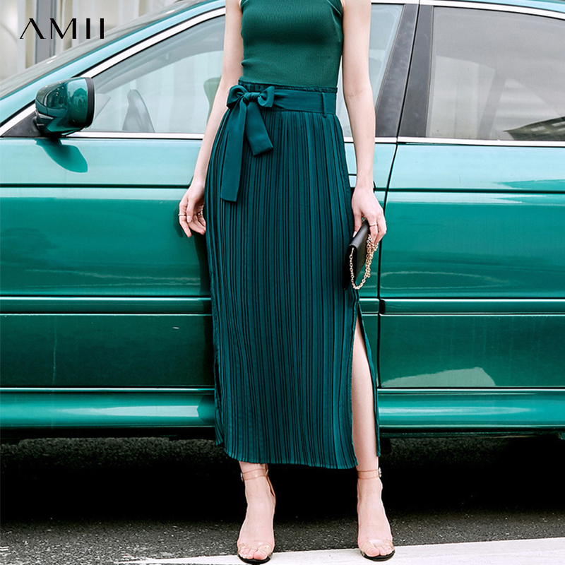 Amii Minimalist Summer Pleated Skirt Women Elegant Solid High Waist Bandage Loose Female Casual Long Skirt 11940196