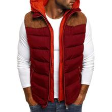 Fashion Men Jacket Thick Down Coats Color Block Zipper Pocket Sleeveless Hooded Cotton Jacket Male Vest Slim Coat