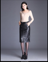 Leather skirt female autumn and winter New High waist fashion slim long section cover one-step skirt PU bag hip skirt inter step is cover slim white