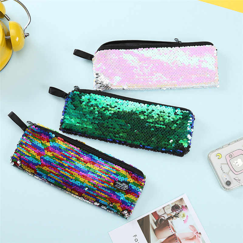 Flash Sequin Pen Bag Sequin Pencil Case Reversible School Supplies Pencil Box Girl Handbags Sundries Multi-function Cosmetic Bag