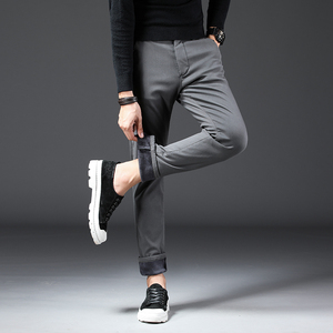Image 5 - 2019 חורף חדש גברים של Slim חם מכנסי קזואל עסקי אופנה קלאסי סגנון כותנה למתוח הדוק לעבות מכנסיים זכר מותג