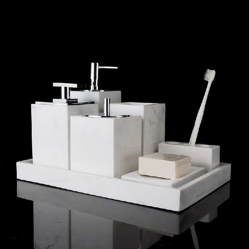 Modern White Marble Texture Shampoo Liquid Soap Dispenser Gargle Cup Bathroom Accessories Soap Dish Wristband Hand Dispenser