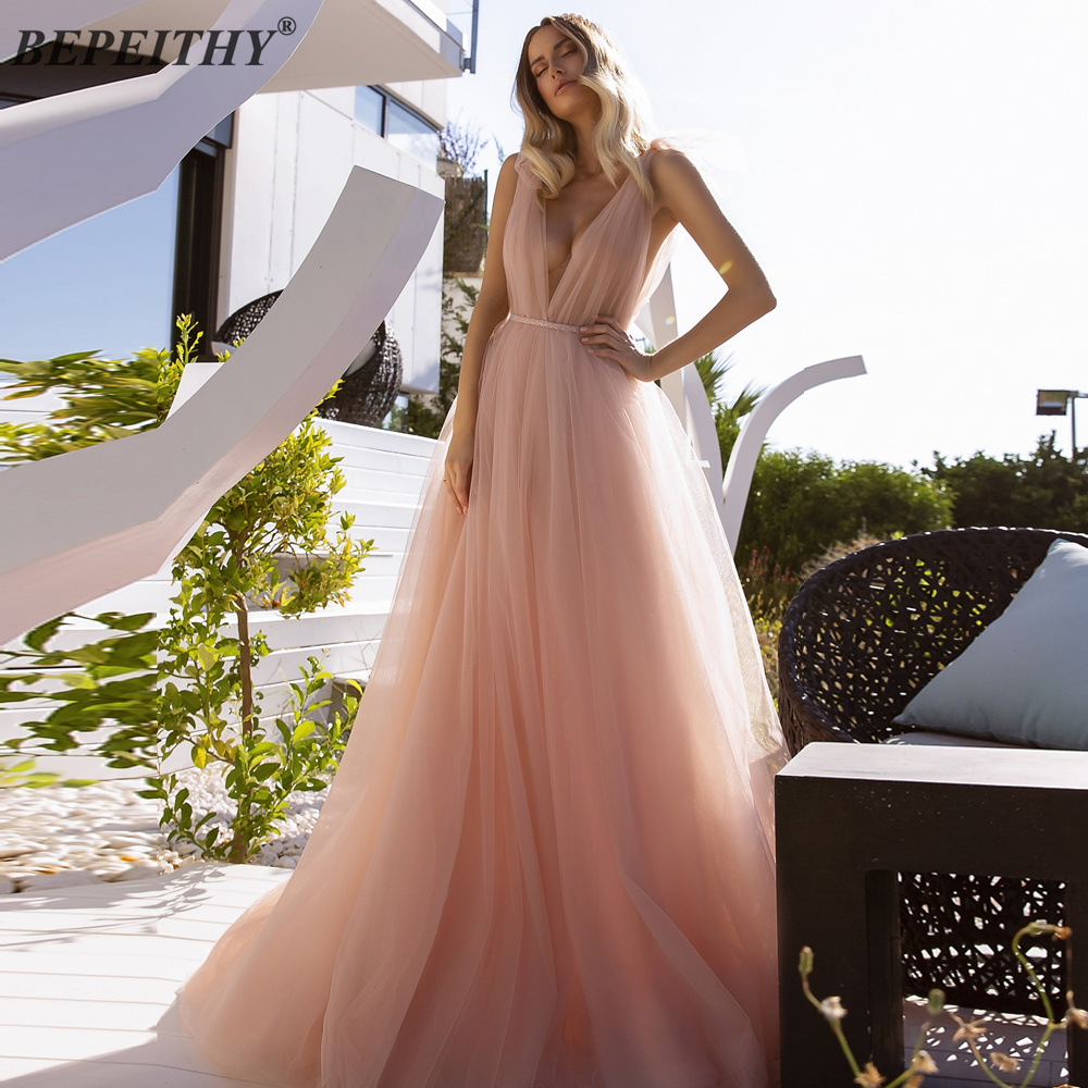 BEPEITHY Sexy Open Back Tulle Long Evening Dresses Robe De Soiree Belt Sleeveless V Neck Prom Party Dress With Court Train 2020