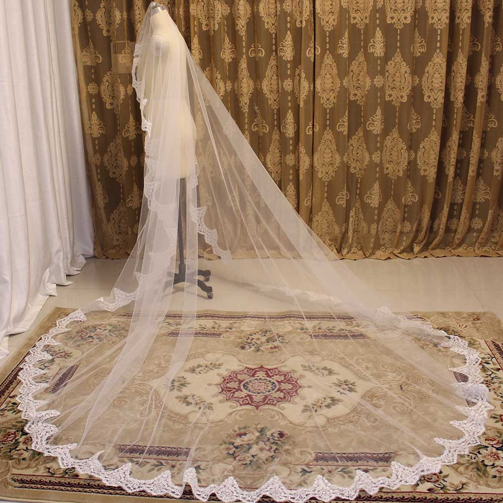One Layer Lace Wedding Veil WITHOUT Comb 3 Meters Cathedral Cover Face Bridal Veil White Ivory Veil Bride Accessories