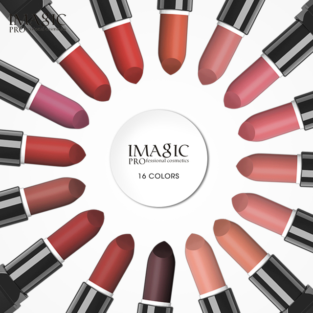IMAGIC Kissproof Glossy Lipstick 16 Colors Waterproof Pigment Multiple Colour Easy To Carry Matte Batom 2
