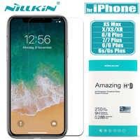 Pour iPhone X XS Max XR 8 7 6s 6 verre protecteur d'écran Nillkin 9H dur clair sécurité verre trempé pour Apple iPhone 8 7 6S Plus