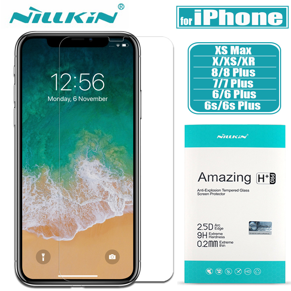 for iPhone X XS Max XR 8 7 6s 6 Glass Screen Protector Nillkin 9H Hard Clear Safety Tempered Glass for Apple iPhone 8 7 6S Plus