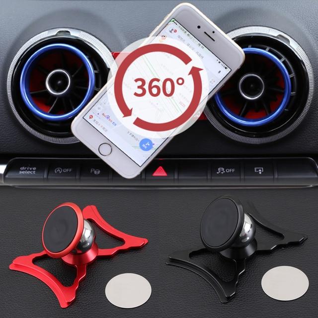 Uchwyt samochodowy do telefonu Audi A3 S3 8V uchwyt do otworu wentylacyjnego uchwyt samochodowy do stylizacji GPS stojak 360 stopni obrotowy wsparcie akcesoria do telefonu