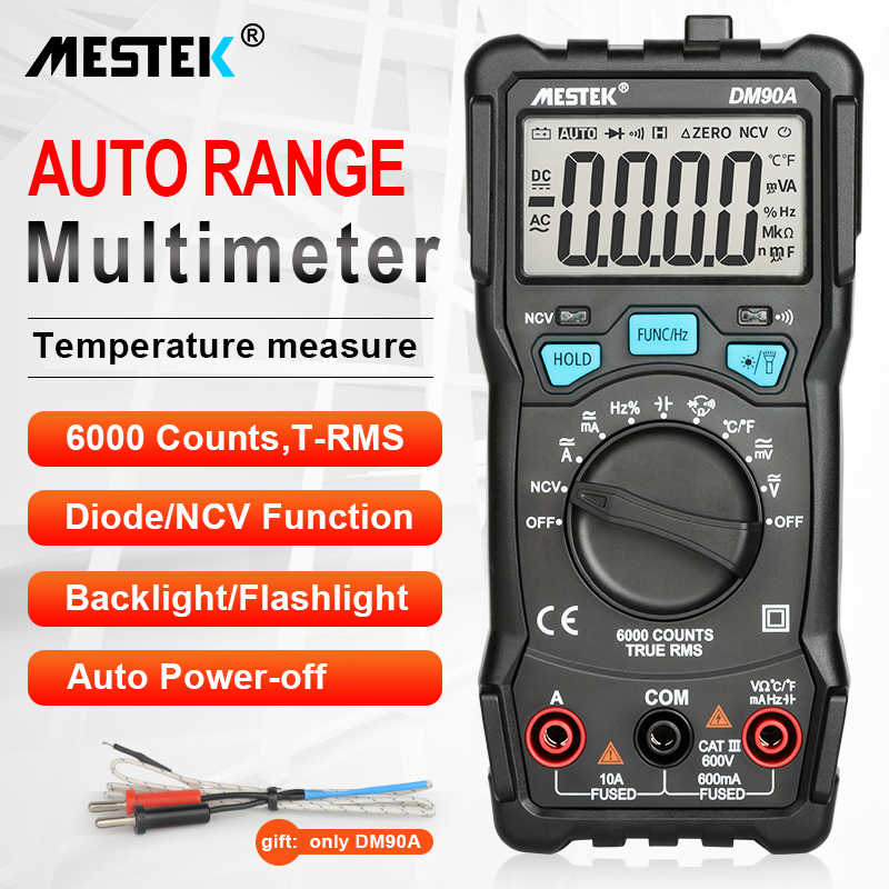 MESTEK Digital Multimeter 6000 Counts High Speed Auto Range Tester Intelligent NCV True RMS Temperature Universal Multimetro