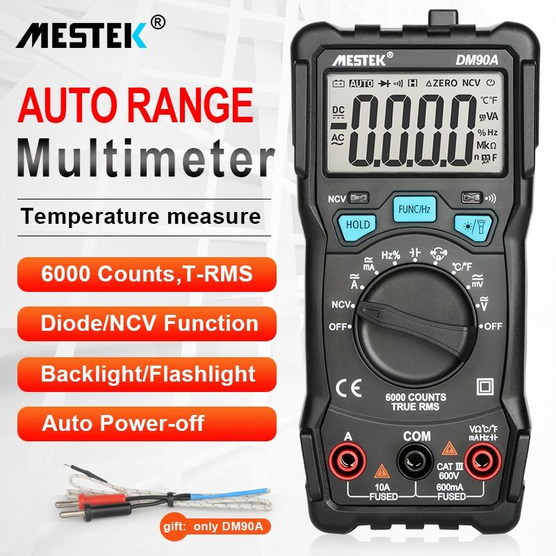 MESTEK-multimètre numérique pour testeurs, compteur à 6000 points pour testeurs, Intelligent à haute vitesse, à intervalle automatique, universel, NCV True RMS