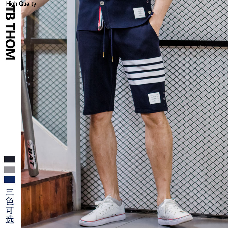 Men's Contrast Color Sport Casual Shorts With Button Dyed Cotton Summer Beach Shorts Men Panelled Short Pants Male Youth