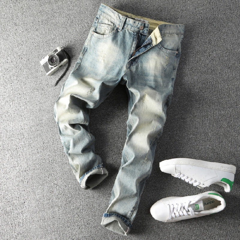 Light Color Elasticity Jeans Men's Slim Fit Tattered Pants Medium Waist Washing Faded Electric Pattern Pants [QQ Group: 58411717