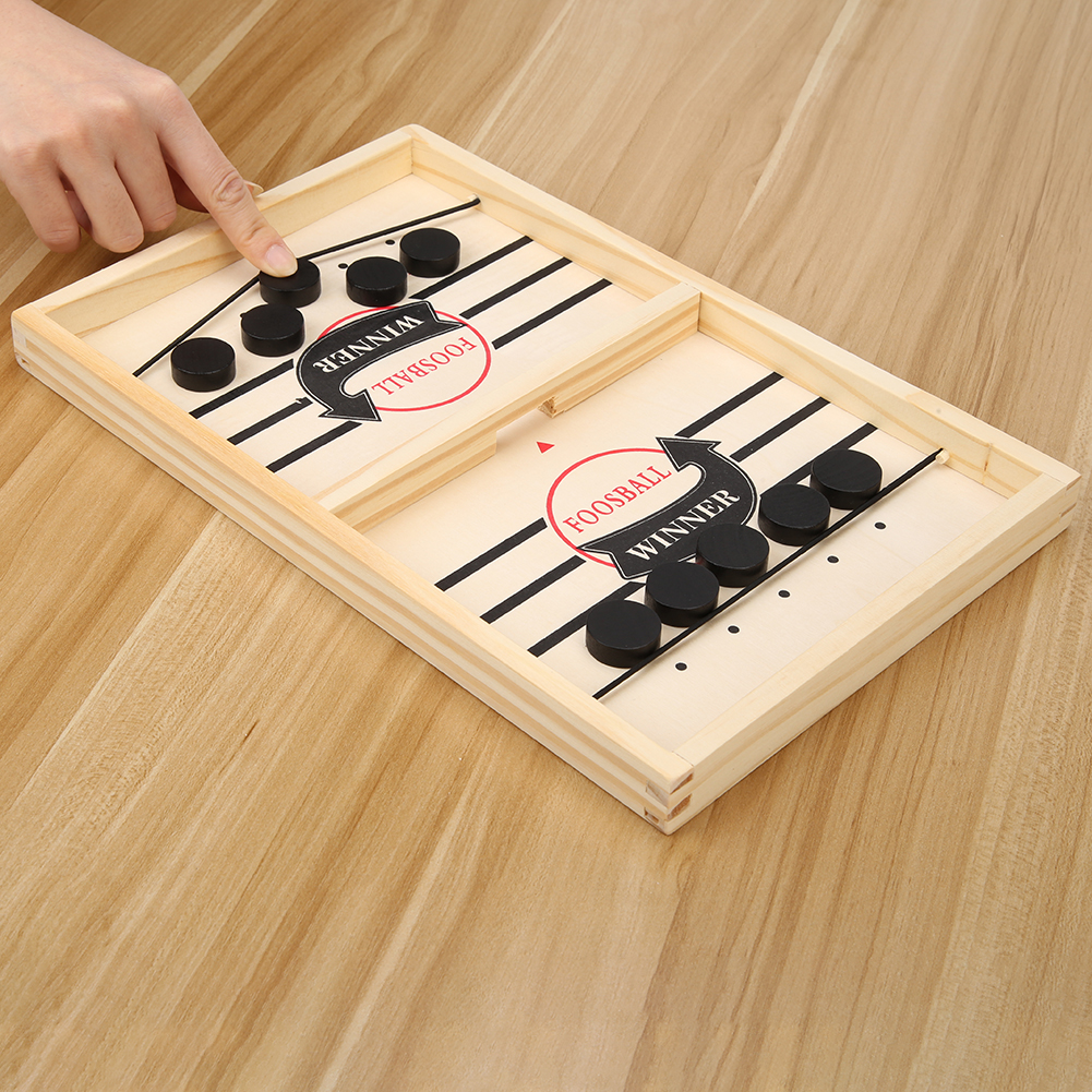 Fast Sling Puck Game Toy Family Table Ice Hockey Game Catapult Chess Wood Paced Sling Puck Winner Fun Toys For Kids Adult Family