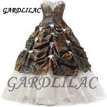 Gardlilac 2020 Women Camouflage Satin Wedding Bridal Dress Prom Ball Gowns Floral Print Evening Dresses Formal Gown