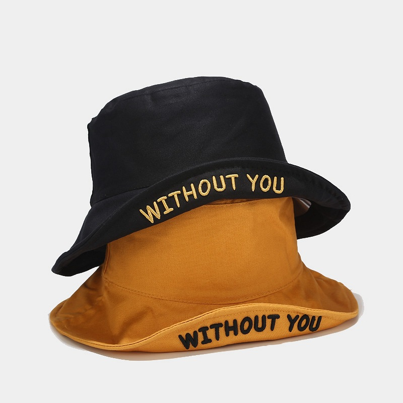 Hat Women Spring Three-dimensional Letter Embroidery Fisherman Bucket Hat College Style Student Couple Double-sided Basin Cap