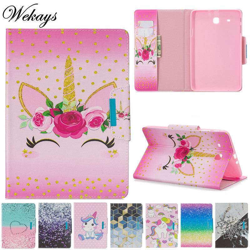 Wekays For Samsung Tab E 9.6 T560 Cartoon Unicorn Leather Fundas Case For Samsung Galaxy Tab E 9.6 T560 T561 Tablet Cover Cases