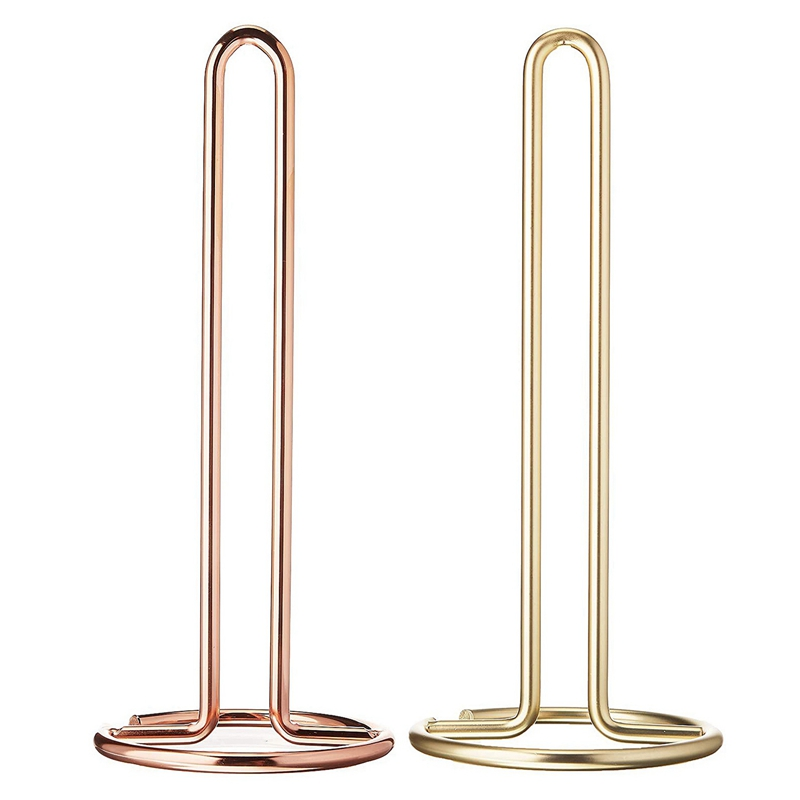 2 Pcs Vertical Wrought Iron Paper Towel Holder Nordic Style Golden Paper Towel Holder Kitchen Table Roll Holder