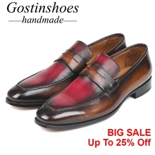 GOSTINSHOES HANDMADE Goodyear Welted Men Loafers Brown Bordeaux Color Cow Leather Pointed Slip-On Men Casual Leather Shoe SCZ045 цена в Москве и Питере