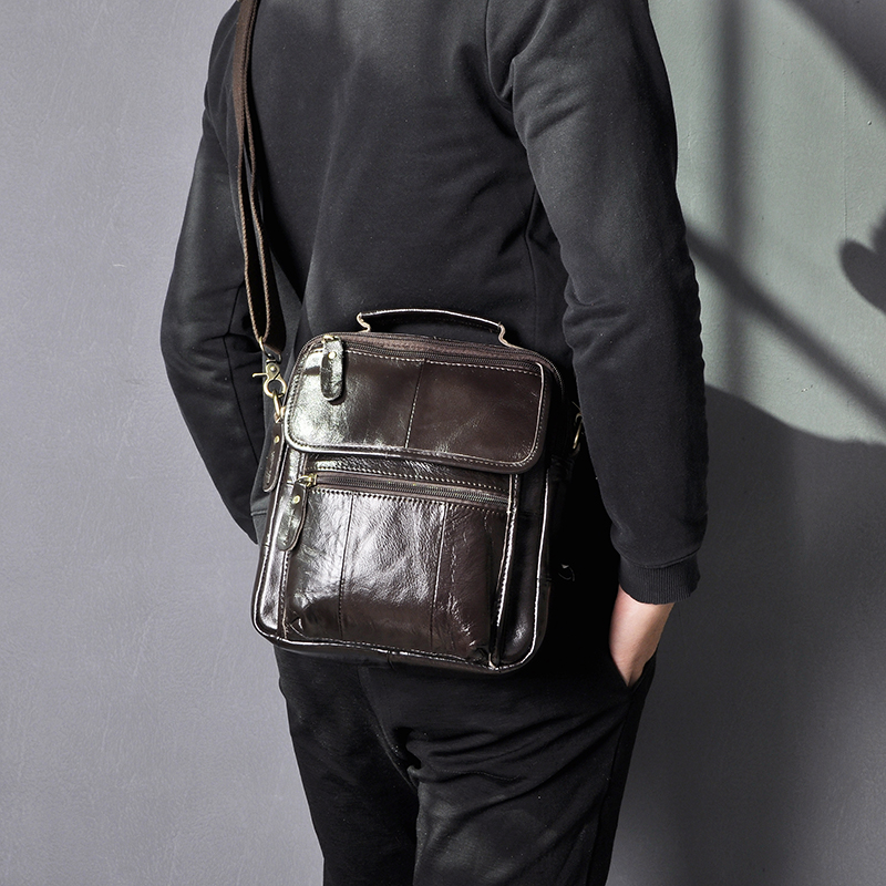 Qualidade de Couro Bolsa do Mensageiro Bolsa para Homem Masculino Moda Casual Tote Design Satchel Crossbody um Ombro Bolsa 9 Tablet 038-c