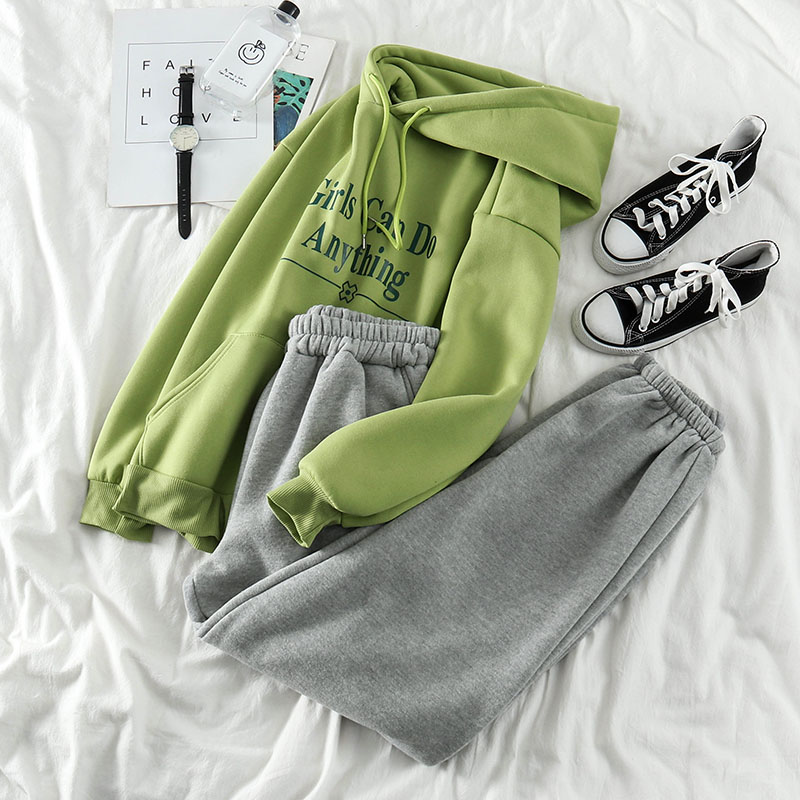 Winter Spring Thickening Pants Set Women Letter Printed Hooded Sweatshirt+elastic Casual Sport Pants Korean Style Matching Set