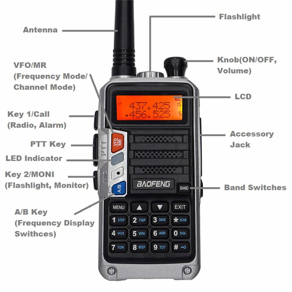 """עוצמה BaoFeng UV-5R פרו ווקי טוקי CB רדיו משדר 8W 10 ק""""מ ארוך טווח נייד רדיו עבור ציד יער עיר שדרוג 5R"""