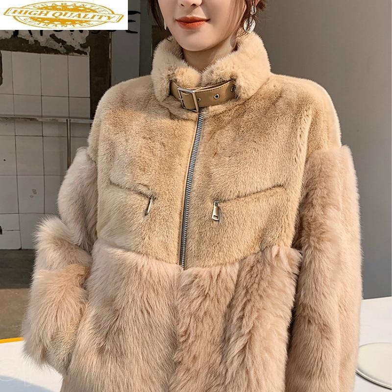 Real Fur Coat Women Sheep Shearing Wool Jacket Mink Fur Coat Women Clothes 2019 Winter Coat Women Korean Fur Tops 1929 YY1848