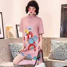 Chinese Traditional Dresses Qipao Cheongsam Loose Girl Plus-Size Fashion Women's New