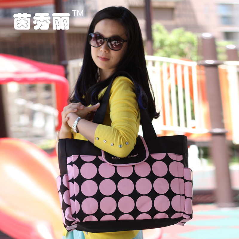 Insular Retro Polka Dot Diaper Bag Multi-functional Large Capacity Shoulder Mommy Bag Maternal And Child Supplies Bag Wholesale