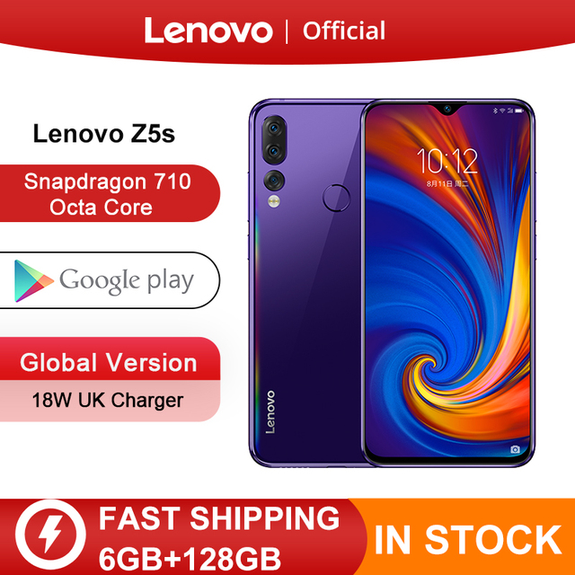 Global Version Lenovo Z5s Snapdragon 710 Octa Core 128GB Mobile Phone Face ID 6.3inch Android P Triple Rear Camera Smartphone
