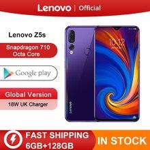 Globalna wersja Lenovo Z5s Snapdragon 710 Octa Core 128GB telefon komórkowy twarz ID 6.3 cala Android P potrójny tylny aparat Smartphone