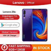 Küresel sürüm Lenovo Z5s Snapdragon 710 Octa çekirdek 128GB cep telefonu yüz kimliği 6.3 inç Android P üçlü arka kamera akıllı telefon