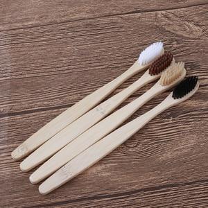 Image 1 - 50PCS אקו ידידותי שן מברשת במבוק מברשת שיניים רך זיפי סיבים סגלגל במבוק ידית מינימליסטי עיצוב טבעוני מברשות שיניים