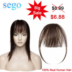 SEGO Hair-Pieces Human-Hair Blonde Clip-In-Bangs Brazilian Non-Remy-Replacement