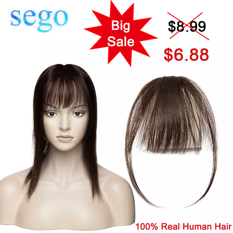 SEGO Clip In Bangs Human Hair Air Bangs Invisible Bangs Brazilian Blonde Hair Pieces Non-remy Replacement Hair Extension