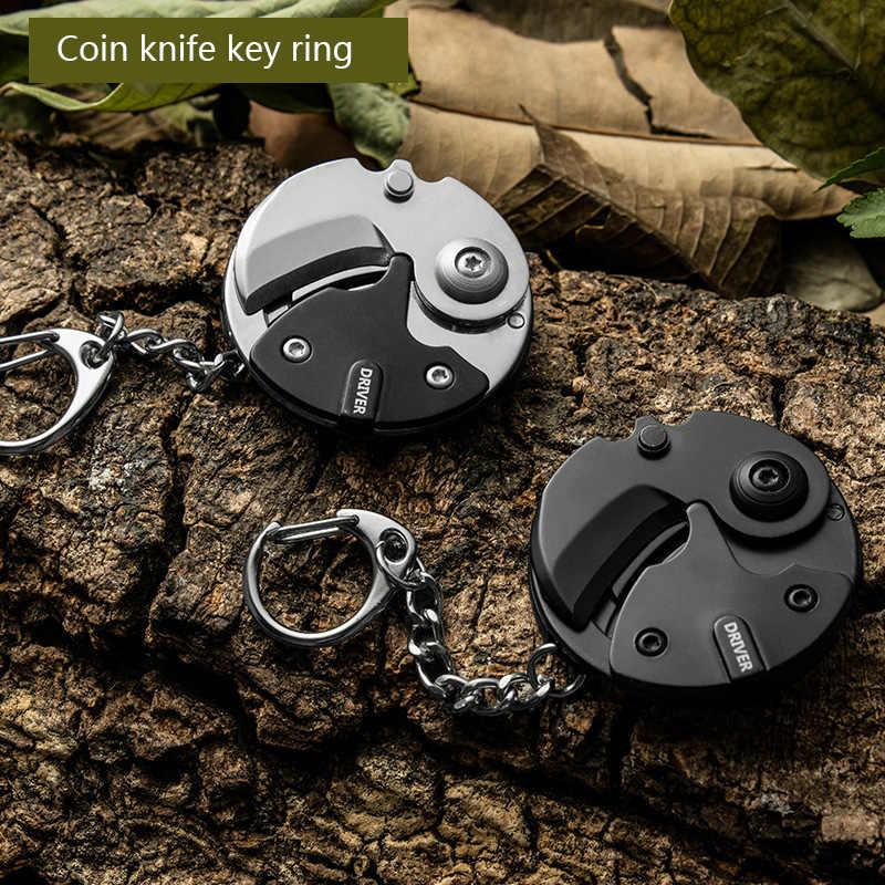 Baru Stainless Steel Portabel Lipat Koin Cutter Alat Hitam Koin Mini Cutter Gantungan Kunci Gesper Gantungan Kunci Kolam Survival Knife