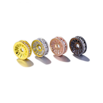 5-10mm Diamond Ring Car Tire Wheel Spacer Beads Necklace Bracelet DIY Handmade Copper Inlaid Zircon Jewelry Making Accessories image